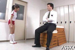 Dazzling threesome Asian fucking