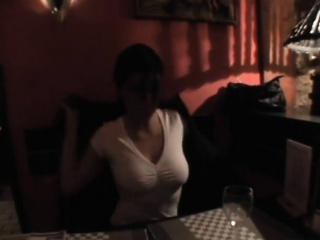 Babe is letting chap fingers her pussy underneath the table