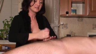 femdom handjob with 3 cumshots