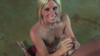 Hot blonde gives great handjob