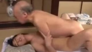 Japanese girl forces helpless old uncle to fuck her